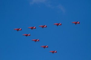 RAF Fly Past Red Arrows